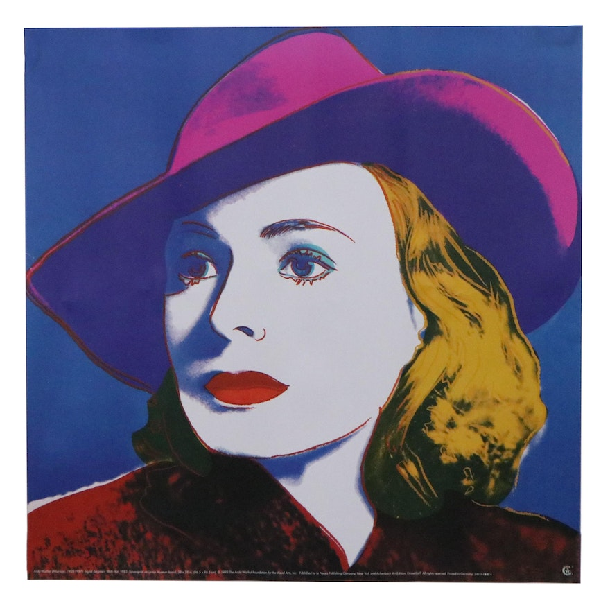 """Offset Lithograph After Andy Warhol """"Ingrid With Hat,"""" Late 20th Century"""