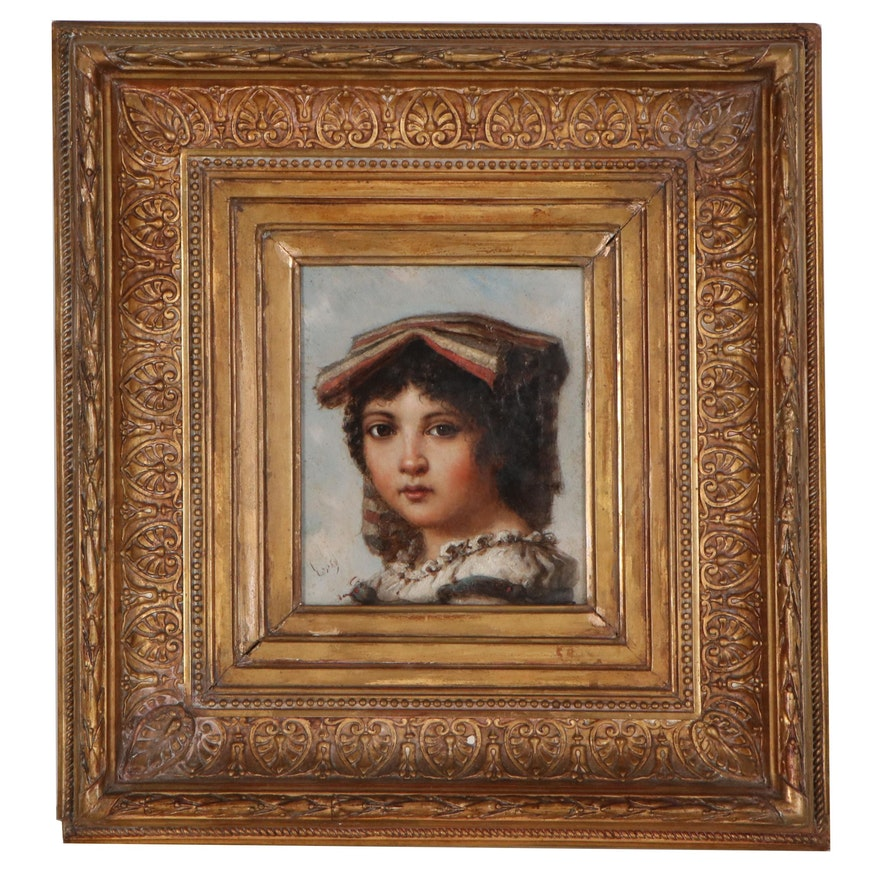 Oil Portrait of Young Child, Late 19th-Early 20th Century