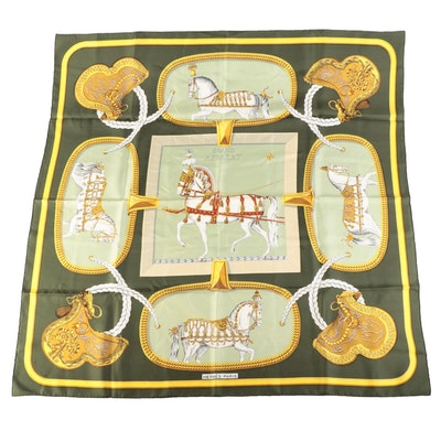 """Hermès Early Issue """"Grand Apparat"""" Silk Twill Scarf"""