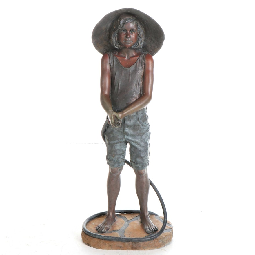"""Bets Lundeen Large-Scale Bronze Fountain """"Straw Hat,"""" 1993"""