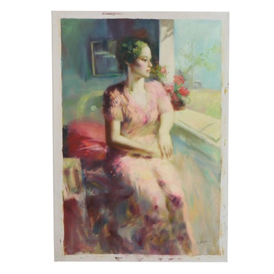 Oil Painting of a Seated Woman by a Window, 21st Century