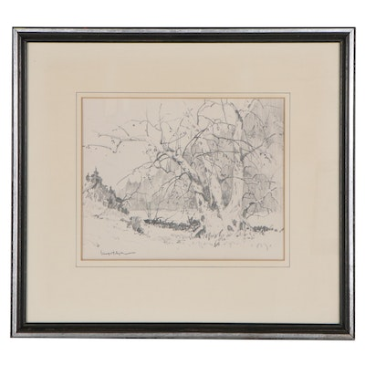"""Gerhard C.F. Miller Graphite Drawing """"The Old Tree,"""" Late 20th Century"""