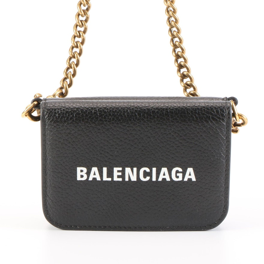 Balenciaga Everyday Wallet in Black Grained Leather with Detachable Chain