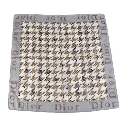 Christian Dior Herringbone Pixel Printed Silk Scarf