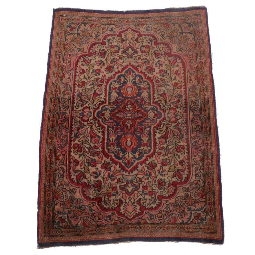 2'1 x 2'11 Hand-Knotted Persian Sarouk Rug, 1970s