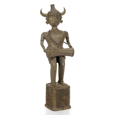 African Bronze Finish Benin Warrior Figurine