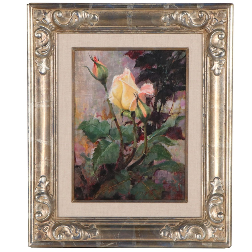 """Howard Rogers Still Life Oil Painting """"Waiting to Bloom,"""" Late 20th Century"""