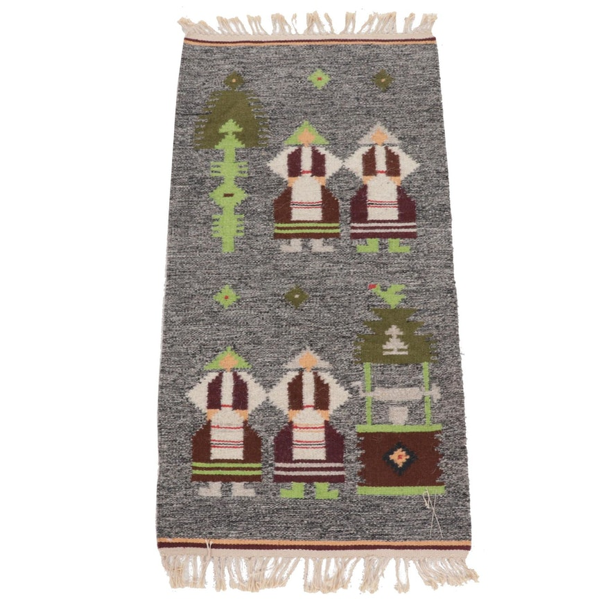 1'9 x 3'7 Handwoven Russian Kilim Pictorial Rug, 1970s