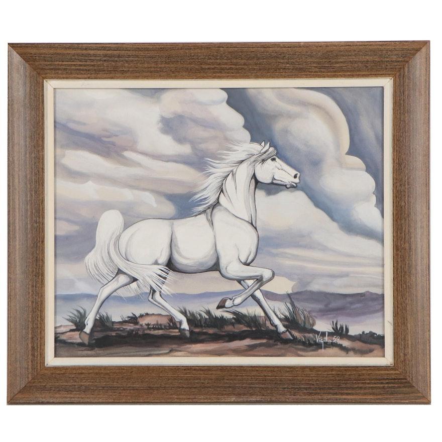Frank Vigil Gouache Painting of Horse, 1959