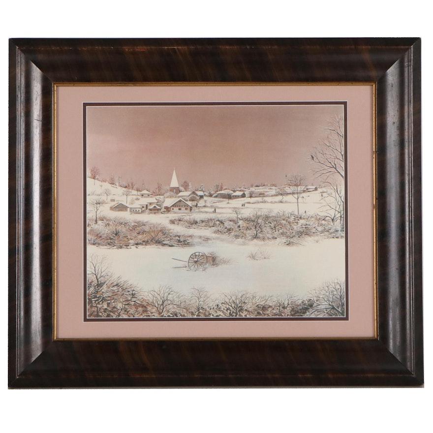 Winter Landscape Offset Lithograph After Kaki Brunet, Late 20th Century