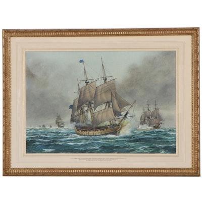 Frank Joseph Henry Gardiner Watercolor Painting of Battle of Quiberon Bay