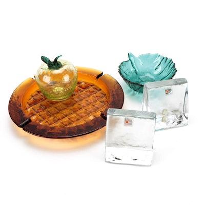 Blenko Handmade Glass Bowl, Ashtray and Other Table Decor