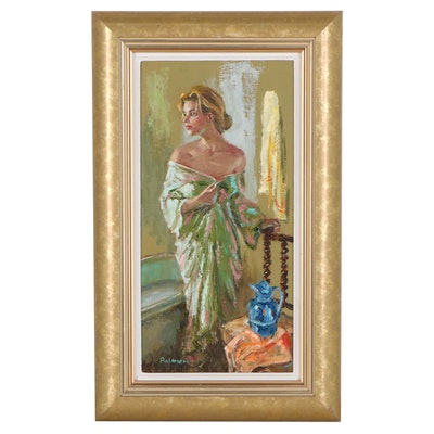 Frank Palmieri Oil Painting of a Woman in a Robe, 21st Century