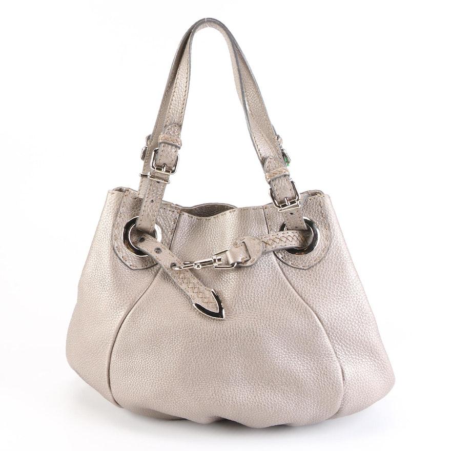 Fendi Selleria Medium Bucket Bag in Taupe Metallic Pebbled Leather