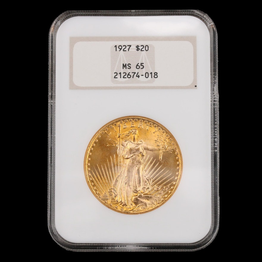 NGC Graded MS65 1927 St. Gaudens $20 Double Eagle Gold Coin