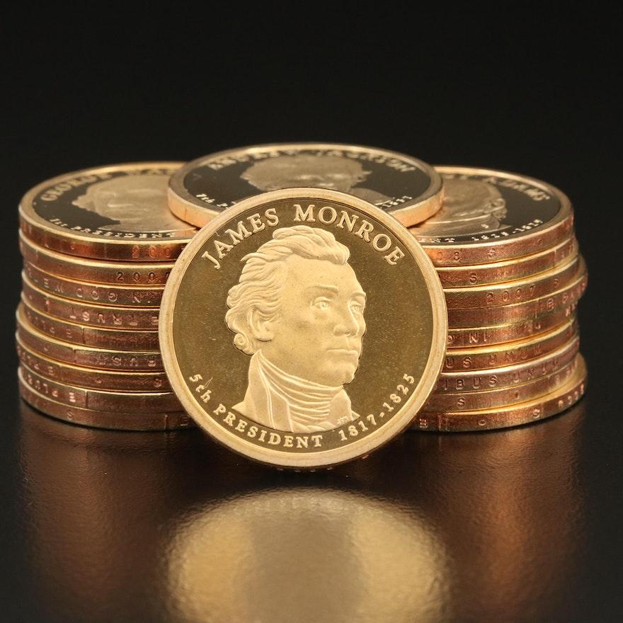 Twenty Assorted Proof Presidential Dollars