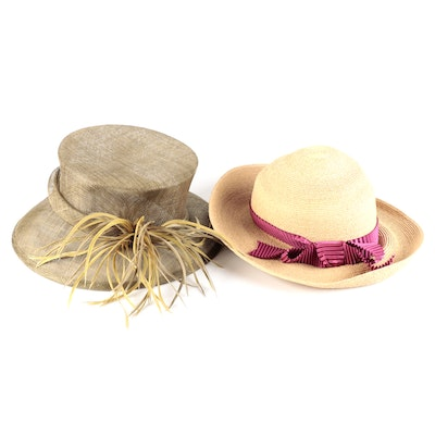 Annabelle Ingall Packable Straw Hat and Toucan Collection Sinamay Derby Hat