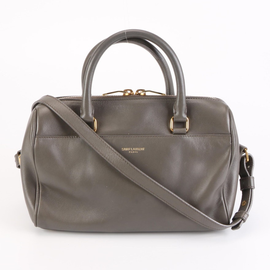 Saint Laurent Classic Baby Duffle Bag in Grey Leather