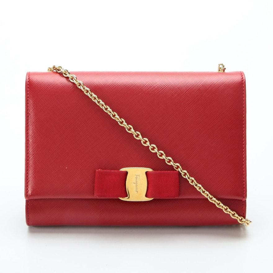 Salvatore Ferragamo Ginny Crossbody Bag in Red Saffiano Leather with Box