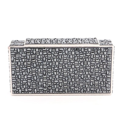 Judith Leiber Black Crystal Minaudière with Chain Strap and Pocket Mirror