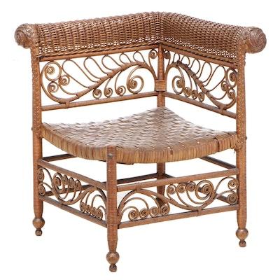 Late Victorian Brown Wicker and Splint-Woven Corner Chair