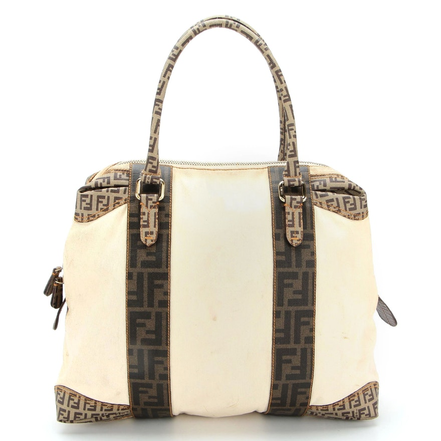 Fendi Spalmati Tote in Zucca and Zucchino Coated Canvas and Coated Twill