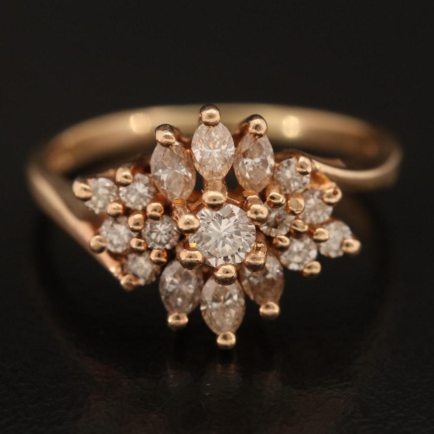14K 0.91 CTW Diamond Cluster Bypass Ring