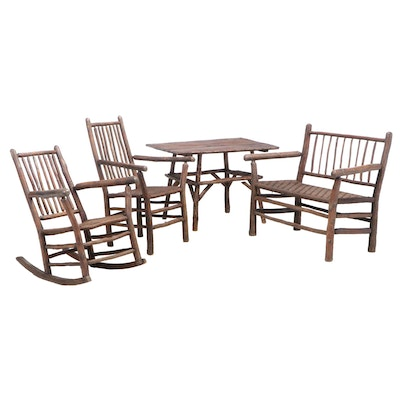 Four-Piece Rustic Twig and Splint-Woven Living Room Suite, Including Old Hickory