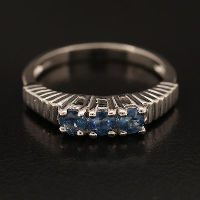 Sterling Sapphire Fluted Band