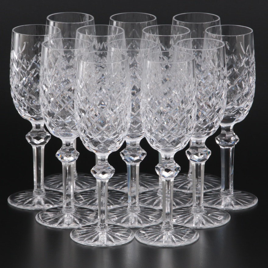 """Waterford """"Powerscourt"""" Crystal Champagne Flutes"""
