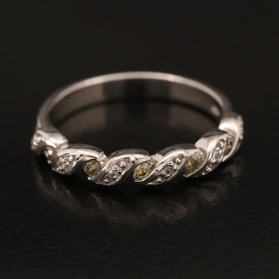 Sterling Diamond and Zircon Braided Band