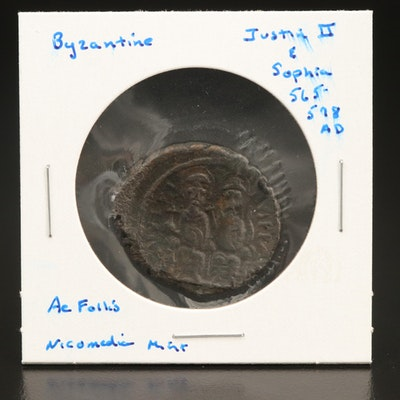Ancient Byzantine AE Follis Coin of Justin II and Sophia, ca. 565 AD