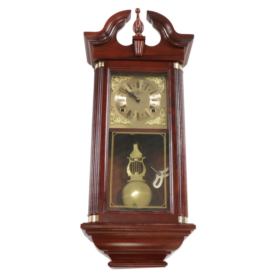 Chippendale Style Wooden Case Brass Pendulum Wall Clock, Late 20th Century