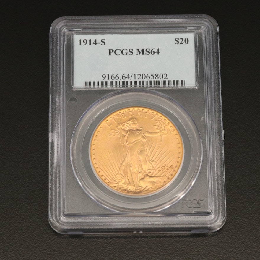 PCGS Graded MS64 1914-S Saint-Gaudens $20 Double Eagle Gold Coin