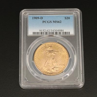 PCGS MS62 1909-D Saint-Gaudens $20 Double Eagle Gold Coin