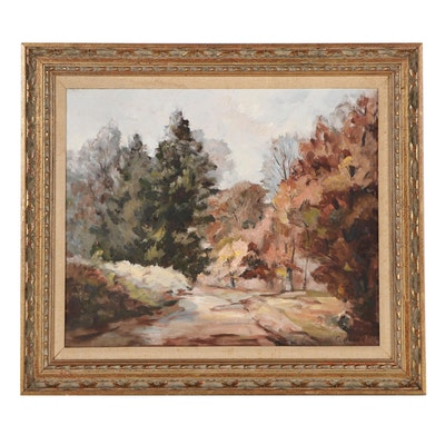"Geraldine Pavey Landscape Oil Painting ""Greasy Creek Road,"" 1966"