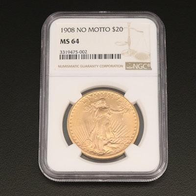"""1908 """"No Motto"""" Saint-Gaudens $20 Double Eagle Gold Coin"""