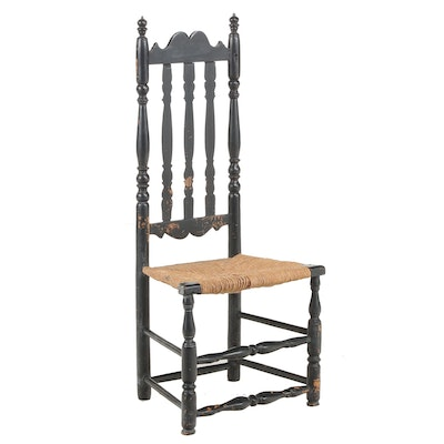 New England Ebonized Banister-Back Side Chair, Mid-18th Century