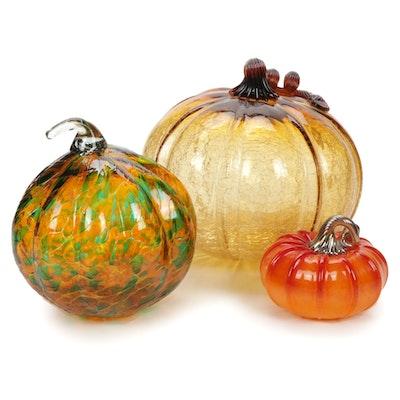 Three Handblown Art Glass Pumpkins