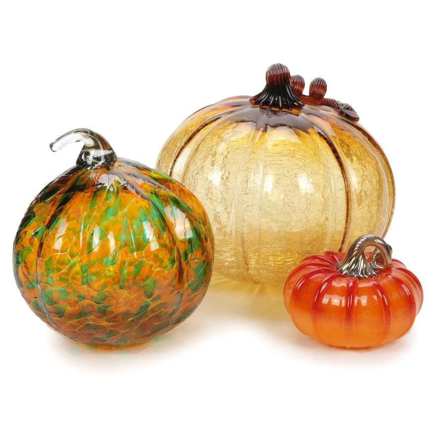 Three Cohn-Stone Handblown Art Glass Pumpkins
