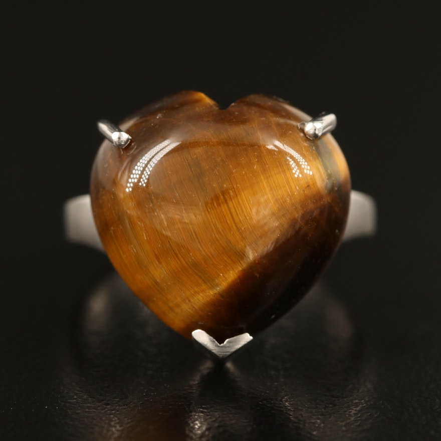 Sterling Tiger's Eye Quartz Heart Ring