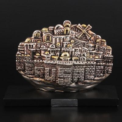 "Sterling Silver Electroplate ""Jerusalem, City of Tears"" Figurine after H. Karshi"