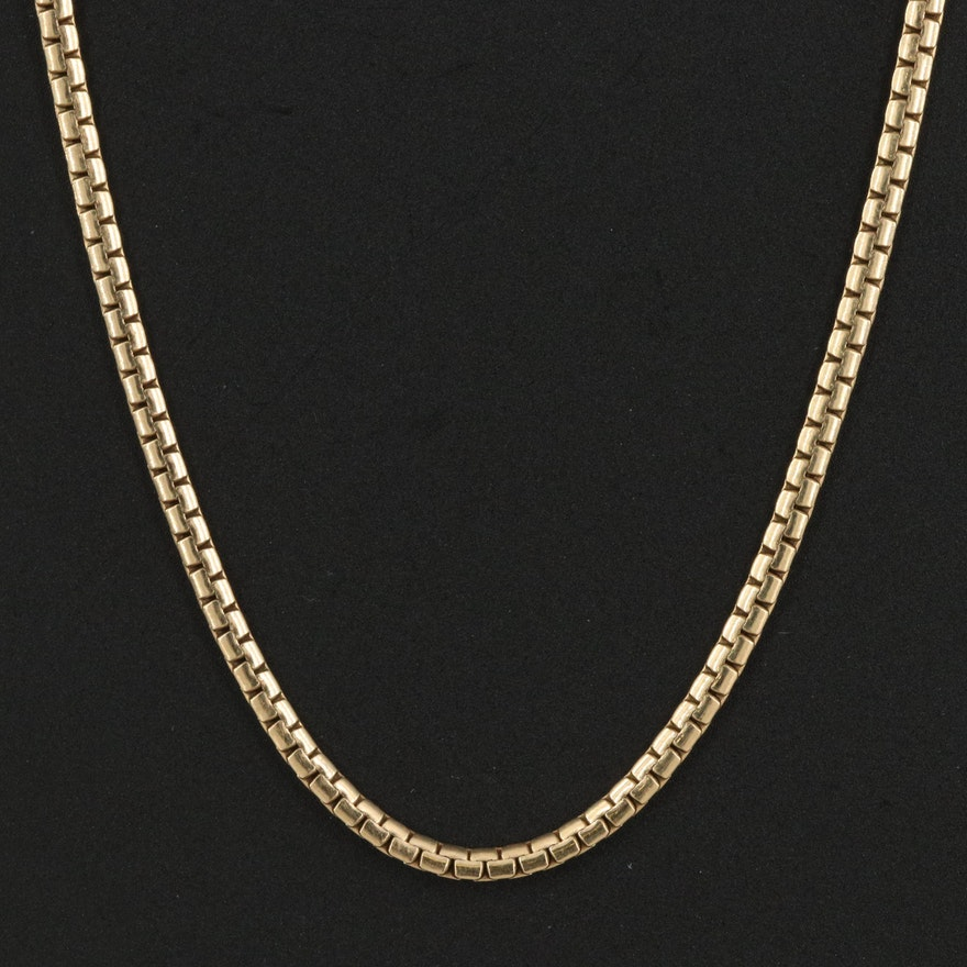 14K Flat Box Chain Necklace