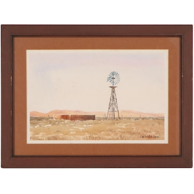 """Lawrence Benjamin Porter Watercolor Painting """"Windmill & Brown Grass"""""""