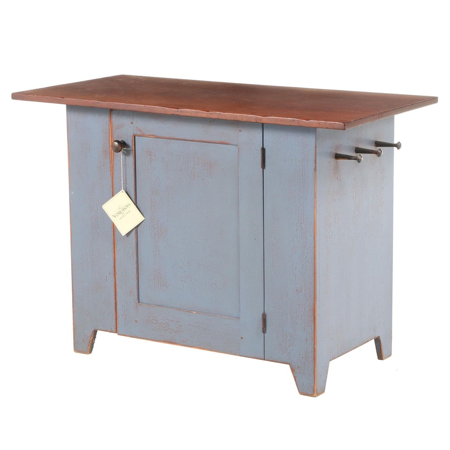 David T. Smith & Co. Shaker Style Painted Poplar and Cherrywood Herb Cupboard