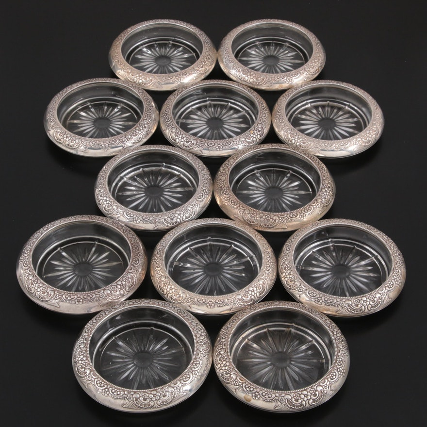 Frank M. Whiting Floral Repoussé Sterling Silver and Glass Coasters