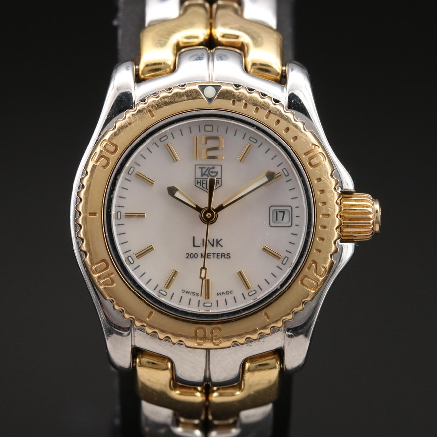 18K and Stainless Steel TAG Heuer Mother of Pearl Link Wristwatch
