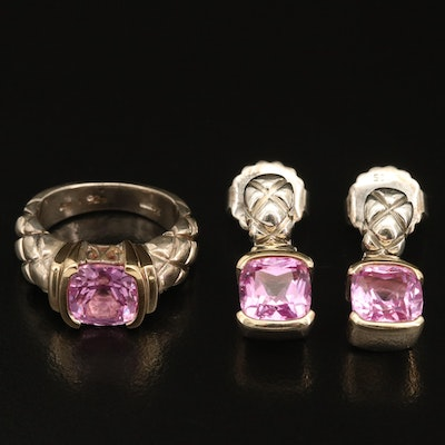 Sterling Sapphire Ring and Drop Earrings Set with 18K Accents