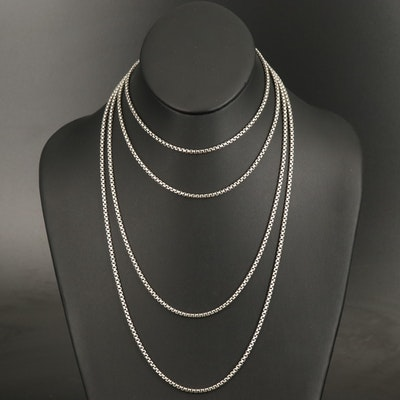 """David Yurman Sterling 72"""" Box Chain Necklace with 14K Accent"""