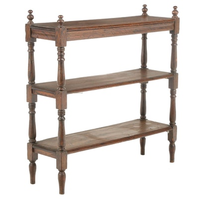 Victorian Grain-Painted Pine Three-Tier Buffet, Mid to Late 19th Century